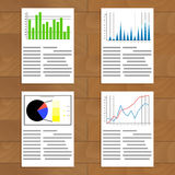Set of documents with graphics and charts Royalty Free Stock Image