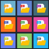 Set of documents in an open folder. Icons for mobile applications, the Internet. Text, graphic, office files. AI, PDF. TXT, XLS, PNG, PPT, JPG, ZIP, DOC Flat Royalty Free Stock Photography