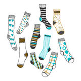 Set of doddle socks on a white background Royalty Free Stock Photos