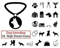 Set of 24 Dog-breeding. Icons in Black Color.Vector illustration Stock Photos