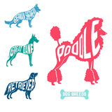 Set of dog breeds silhouettes text inside. Poodle and great dane with retriever, german shepherd Royalty Free Stock Photography