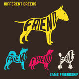 Set of dog breeds silhouettes with text inside Stock Photo