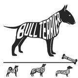 Set of dog breeds silhouettes with text inside Royalty Free Stock Photo