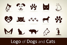 Set dog and cat logo vector Royalty Free Stock Photos