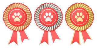 Set of dog or cat winning awards, medals or badges with ribbons.