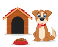 Set of dog, doghouse and food on a white. Set of dog, doghouse and food on a white background stock illustration