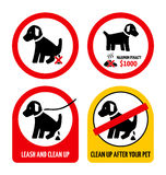 No dog poop. Set of signs illustrating dog droppings Stock Photography