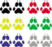 Dog footsteps. Set of dog footsteps illustrations Royalty Free Stock Image