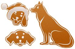 Set dog gingerbread cookie. Christmas ginger snap traditional dessert Stock Images