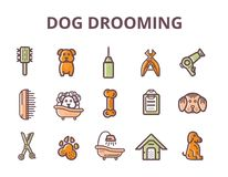 Set of dog grooming Line art Icons with sign of dog, bone, clipper, comb. Stylish animal equipment for your design. Set of dog grooming Line art Icons with sign royalty free illustration