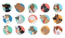 Set of Dog Round Icons Stock Image