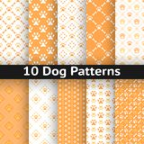 Set of dog seamless vector pattern of paw Stock Image