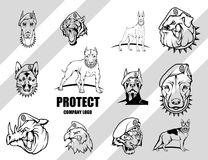 Set Of Dog. Security company vector logo design template. Protection logo. Dog in uniform. Logo icon design Royalty Free Stock Images