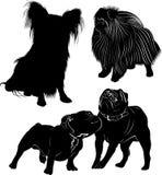 Set of dog silhouettes isolated on white background stock illustration