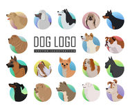 Set of Dog Vector Logos in Flat Style Design Royalty Free Stock Image