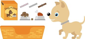 Set for dogs. Illustration - dog food, bed Royalty Free Stock Image