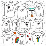 Set of 10 dogs doodle handmade. Dogs with emotions Stock Photo