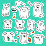 Set of 10 dogs doodle handmade stickers. Dogs with emotions. Painted dog. Sketch dog. Accessories for dogs. Design elements with animals. Dogs for design Stock Image