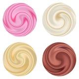 Set dojny jogurt śmietanki kędzior odizolowywający. Fotografia Royalty Free