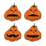 Set dojrzałe pomarańczowe banie na Halloween 4 Ilustracji