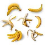 Set dojrzali banany na białym tle na widok odosobniony zdjęcia stock
