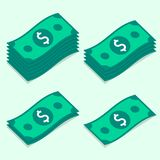 Set dolarowi banknoty wiąże, stylizował, pieniądze ikony Zdjęcie Royalty Free