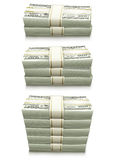 Set of dollar bank notes packed money Stock Photography