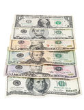 Set of dollar banknotes on white background. On white background with clipping path Royalty Free Stock Image