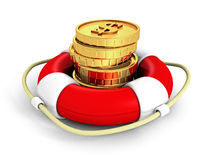 Set Of Dollar Currency Coins In Red Lifebuoy Royalty Free Stock Image