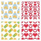 Set of dollar currency and red hearts vector bank finance business seamless pattern money background. Wrapping financial economy gold sign Stock Photography
