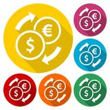 Set of Dollar Euro exchange color icons set with long shadow. Vector icon Stock Photos