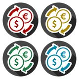 Set of Dollar Euro exchange color icons set with long shadow. Vector icon Royalty Free Stock Photos
