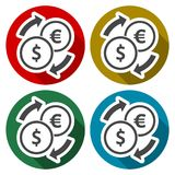 Set of Dollar Euro exchange color icons set with long shadow. Vector icon Royalty Free Stock Photo