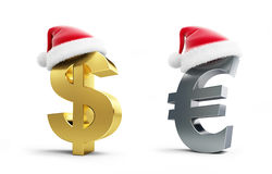 Set dollar and euro sign santa hat o Royalty Free Stock Photo