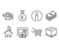 Dollar, Money bag and Delivery shopping icons. People talking, Atm and Delivery box signs. Set of Dollar, Money bag and Delivery shopping icons. People talking Stock Images