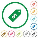 Dollar price label outlined flat icons. Set of Dollar price label color round outlined flat icons on white background Royalty Free Stock Photos