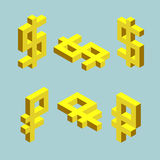 Set of dollar and ruble signs. Cubes form. Set of dollar and ruble signs. Cubes form, isometric US and russian currencies icons, vector illustrations Stock Photography