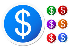 Set of dollar sign buttons Stock Images