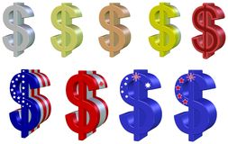 Set dollars, 3D. Collection of colorful dollar signs, isolated Stock Photos