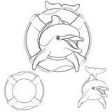 Set of dolphin design element. Vector EPS10 Stock Photos