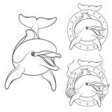 Set of dolphin logo design element. EPS10 Stock Image