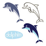 Set of  dolphins  isolated on white background. Hand drawn vecto Royalty Free Stock Photo