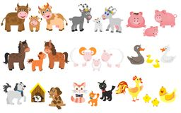 Set of domestic animal. On white background Royalty Free Stock Photo