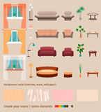 Set of domestic living room elements and furniture to create your own home interior scene. Royalty Free Stock Photos