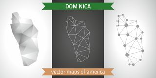 Dominica collection of vector design modern maps, gray and black and silver dot contour mosaic 3d map. Set of Dominica polygonal mosaic modern maps Stock Image