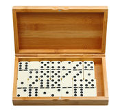 Set of dominoes in wooden box Royalty Free Stock Images