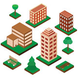 Set domy w isometric projekci Zdjęcie Royalty Free