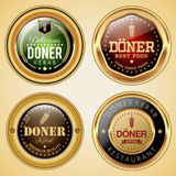 Set of Doner Food badges Royalty Free Stock Photos