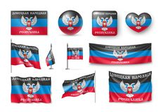Set Donetsk People Republic flags, banners, banners, symbols, flat icon. Vector illustration of collection of national symbols on various objects and state Stock Photos