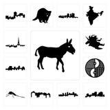 Set of donkey, louisiana outline on white background, arkansas, utah, mosquito, yin yang, jamaica, unicorn head, paris skyline ico. Set Of 13 simple editable Stock Images